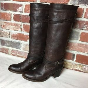 Frye Jane Strappy Heeled Riding Boots